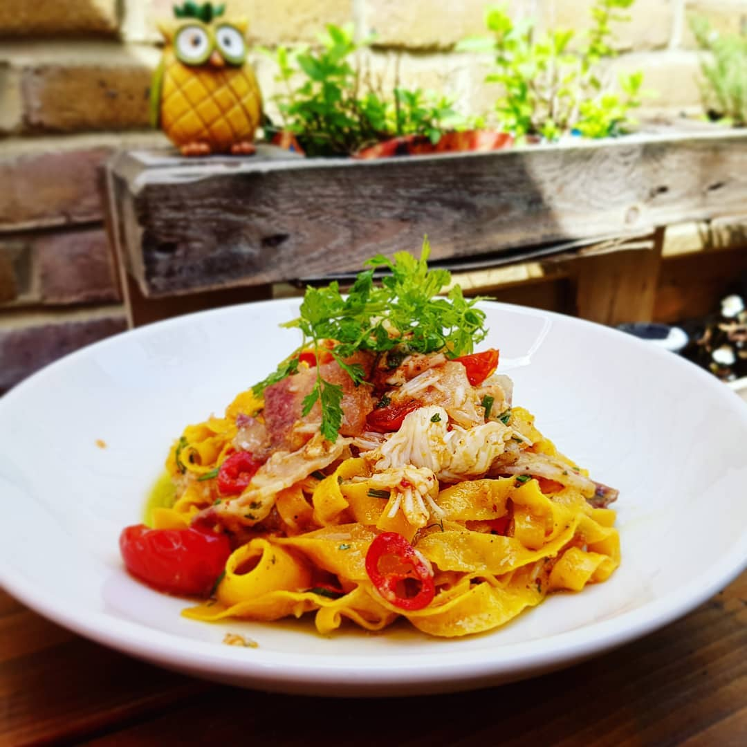 Crabmeat Tagliatelle at PerBacco Italian Restaurant London