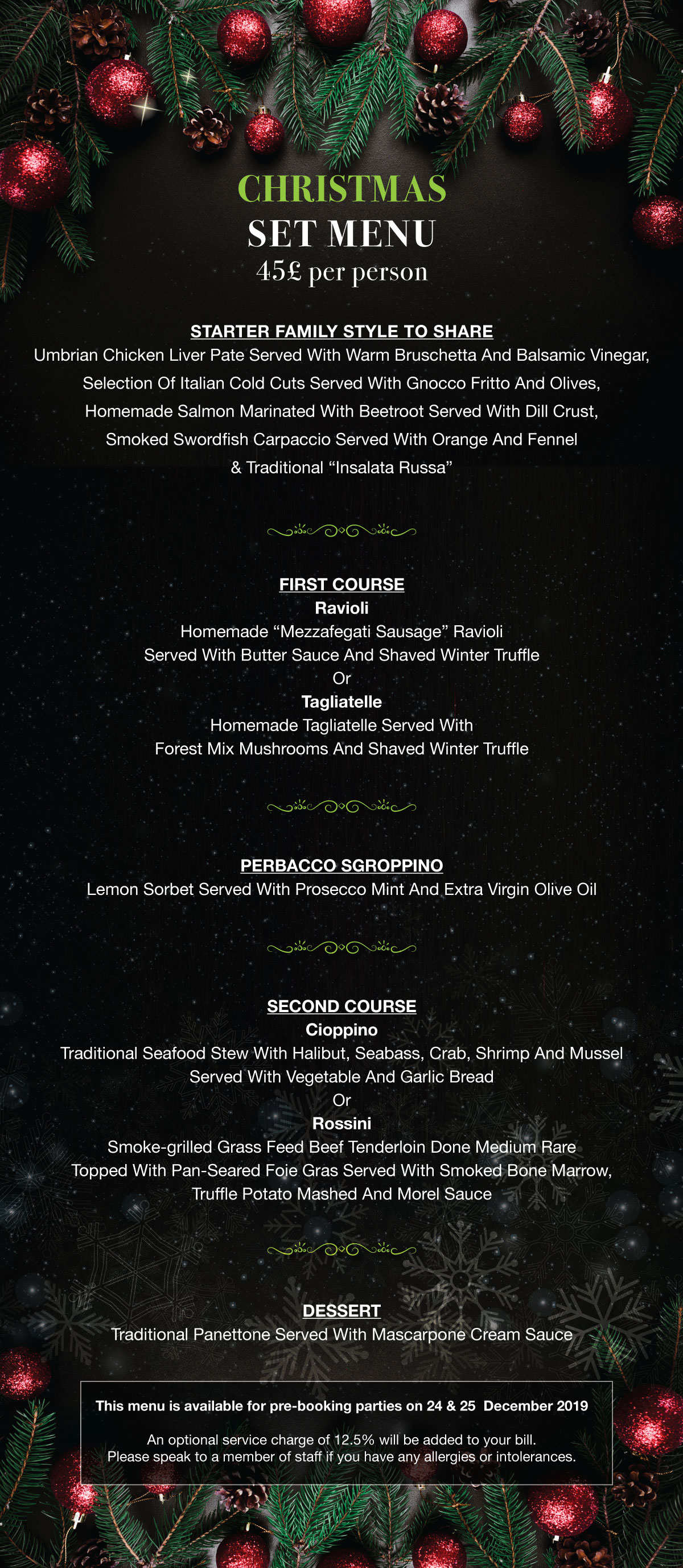 Christmas Party Booking Menu